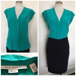 Max Studio 100% silk shirt teal Green